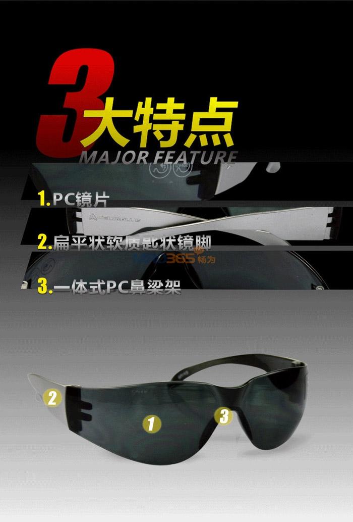 代尔塔101118 舒适型防刮擦抗冲击安全防护眼镜